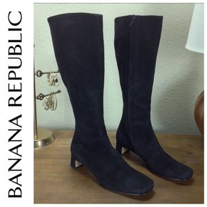 Banana Republic Black Suede Block Heel Knee Boots